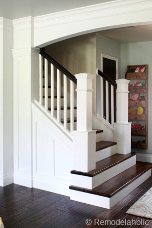 Stair Makeover removing carpet from stairs custom newel posts