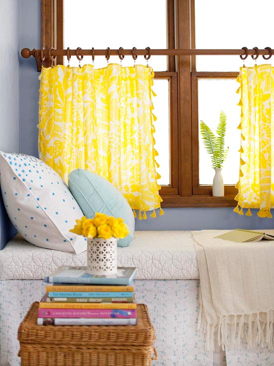 Trimmed Tablecloth Curtains BHG