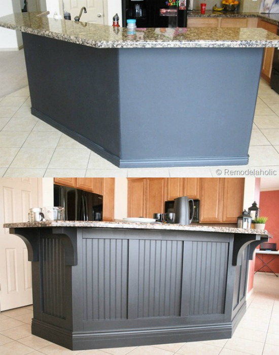 Before After Black Board And Batten Kitchen Island Update With Corbels @remodelaholic