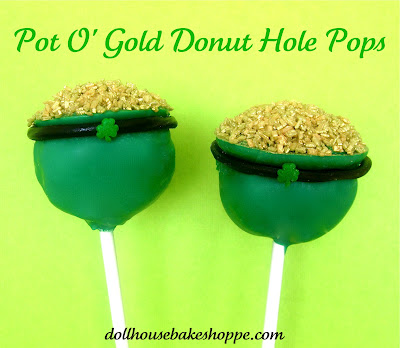 pot o gold donut hole pops for St. Patrick's Day by dollhouse bake shoppe
