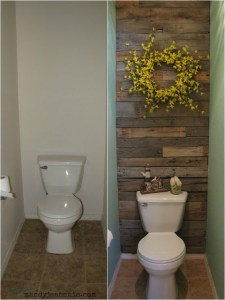Remodelaholic   DIY Pallet Wood Wall for a Bathroom Mandy Jean Chic pallet wall 1