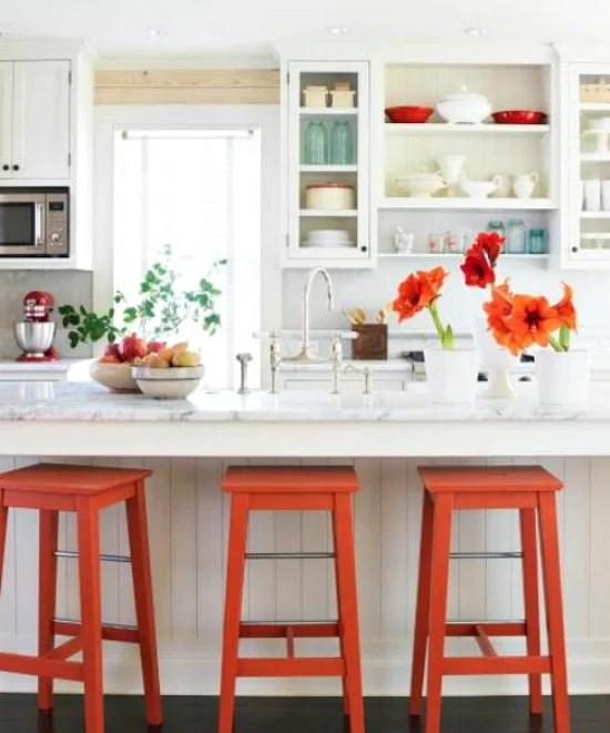 Midwest Living kitchen orange barstools