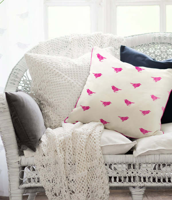 Patchwork Harmony birdy pillow