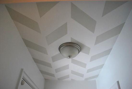 Remodelaholic herringbone ceiling