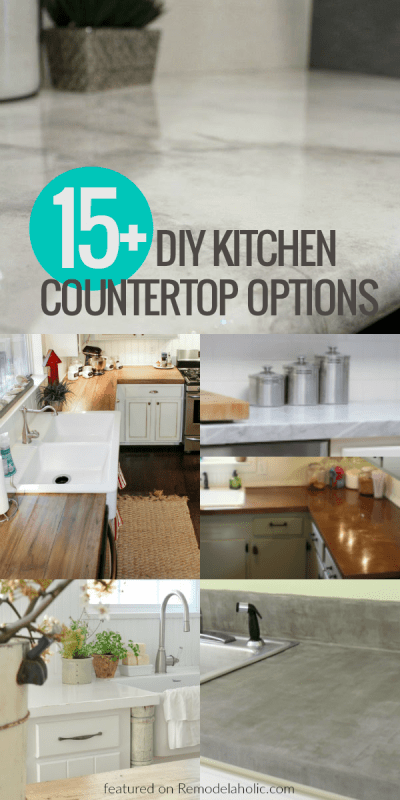 Update your kitchen on a budget with these affordable DIY kitchen countertop options -- from concrete to wood to painted countertops, there's a style that will fit your budget!