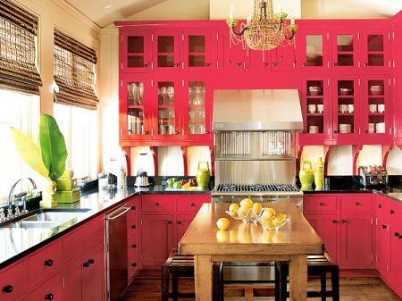 Pink painted kitchen cabinets