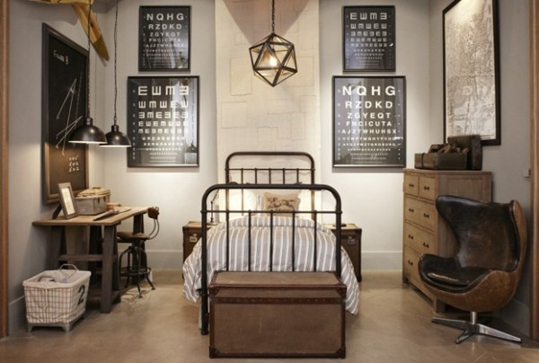 Restoration Hardware masculine room