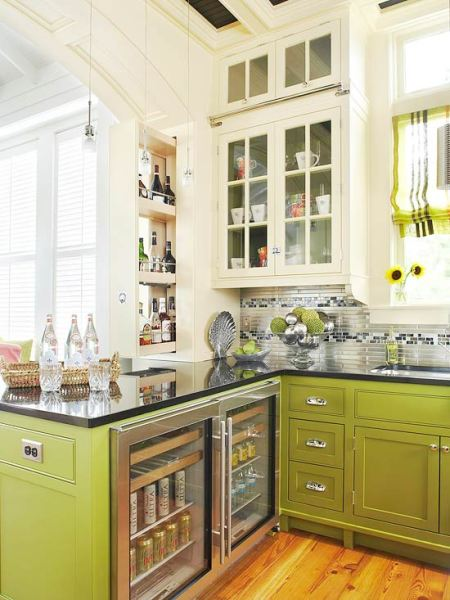 Beautifully colorful painted kitchen cabinets for Avocado kitchen cabinets