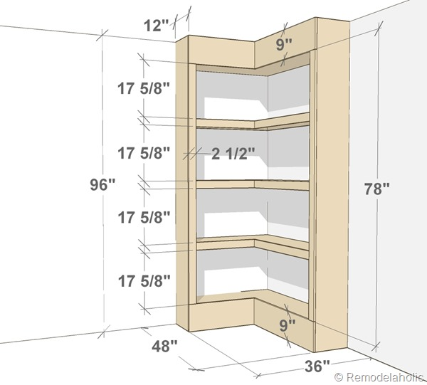 built-in corner bookshelf plans