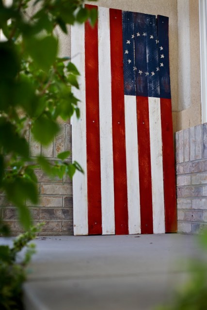 large wood flag for the 4th of July
