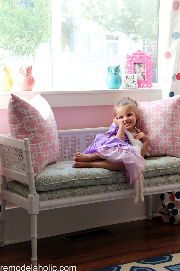 Girls pink and navy bedroom decorations (20)