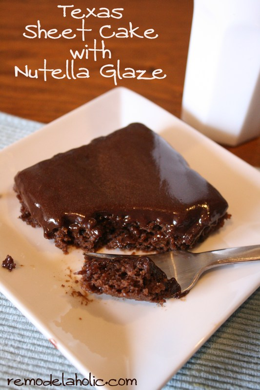 Healthier Texas Sheet cake with Nutella glaze recipe Nutella Glaze frosting Recipe