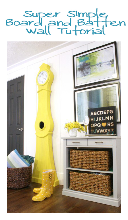 Simple Board and Batten Wall tutorial @remodelaholic #board_and_batten #tutorial