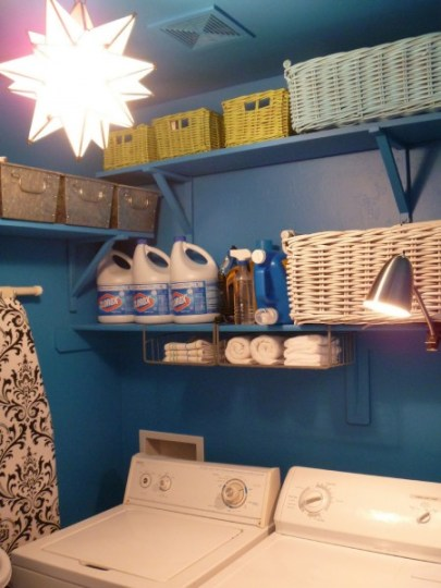 blue laundry room makeover and reorganization