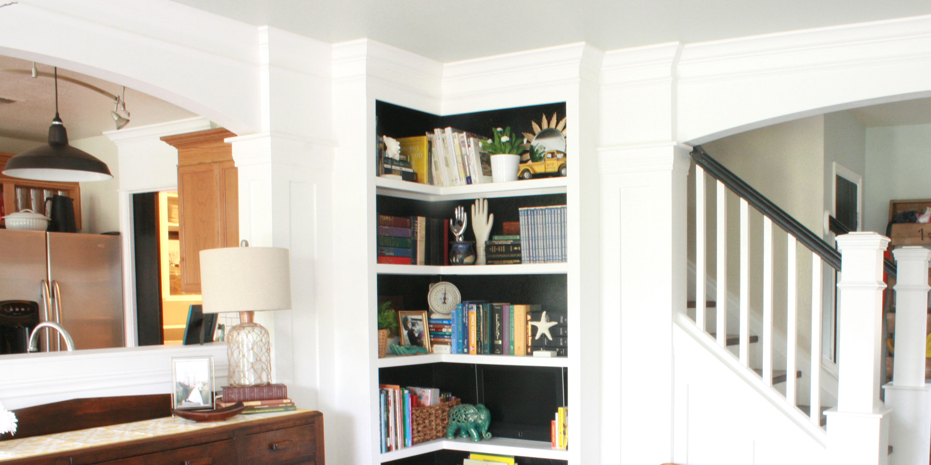 your own corner bookshelves