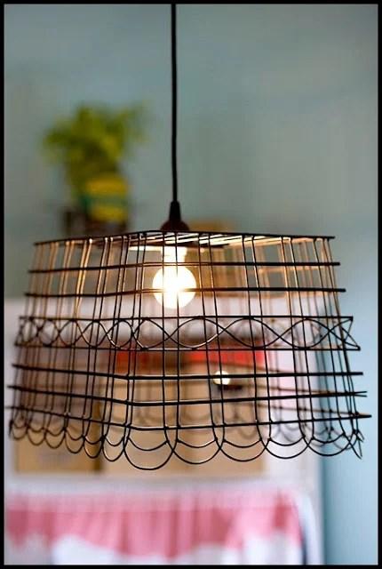 diy hanging basket lamp shade