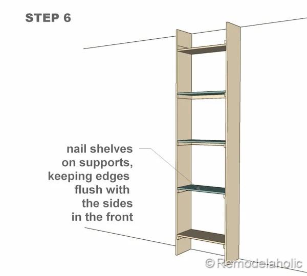 step 6 bult-in bookshelves