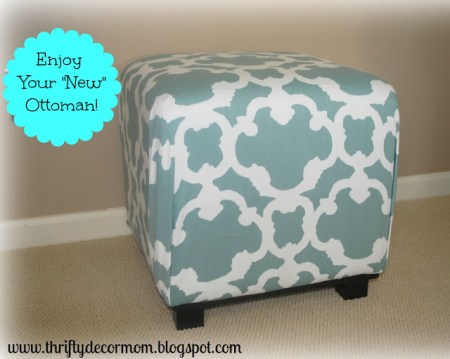 6-28 ottoman with shower curtain, thrifty decor mom