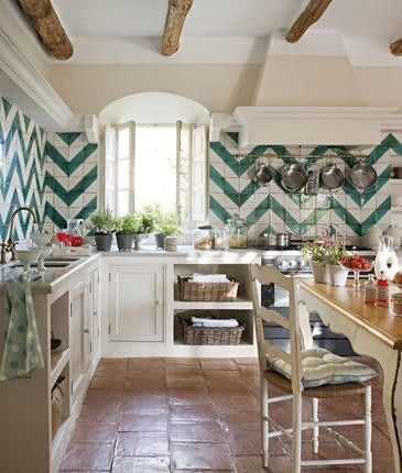 Carla Aston Designed green chevron wall