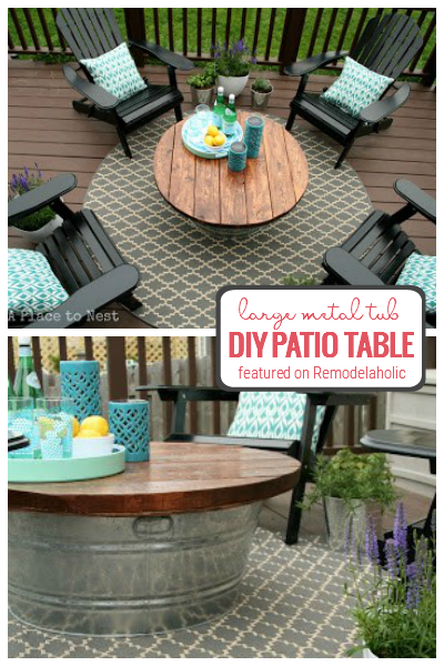 DIY Patio Table From A Large Metal Tub, By A Place To Nest Featured On Remodelaholic