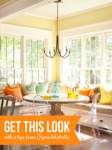 Get This Look - Sunny Corner Banquette | remodelaholic.com