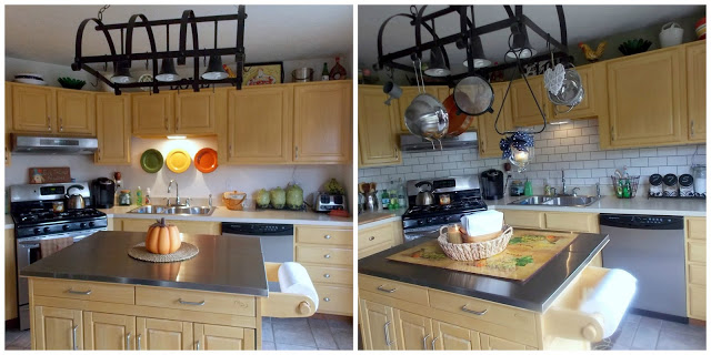 faux painted subway tile backsplash before and after