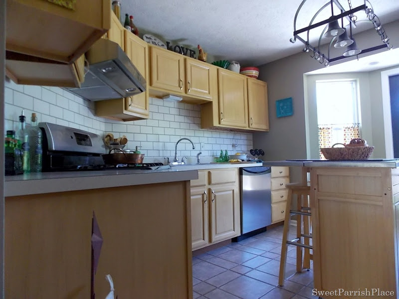 faux painted subway tile kitchen backsplash