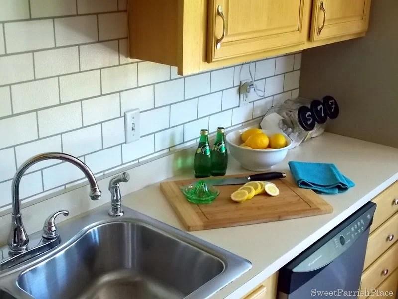 faux subway tile painted kitchen backsplash