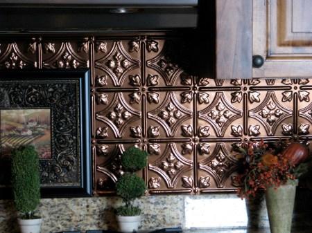 faux tin tile backsplash - The Gathering Place Design