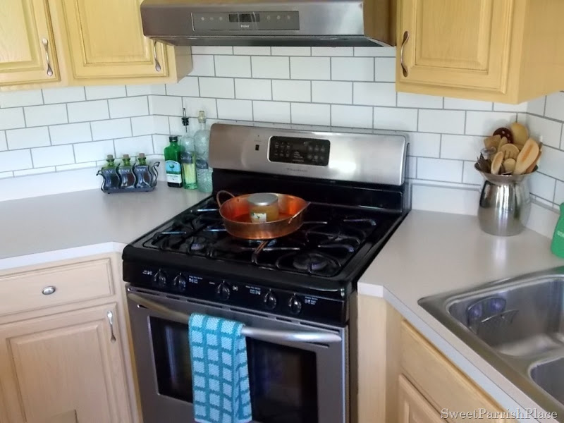 painted subway tile backsplash in the kitchen