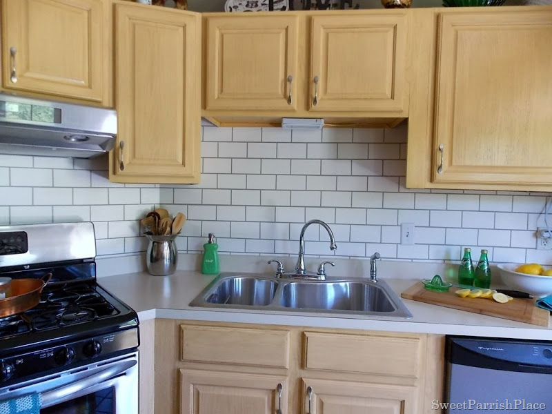 painted subway tile backsplash