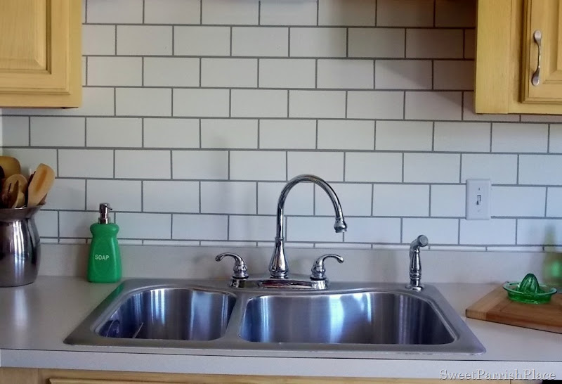 painted subway tile kitchen backsplash