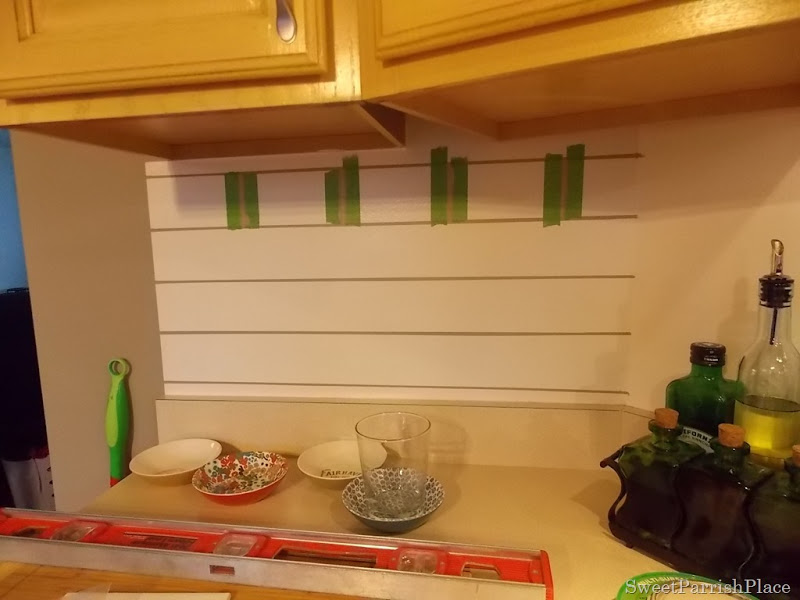 taping painted subway tile backsplash part 2