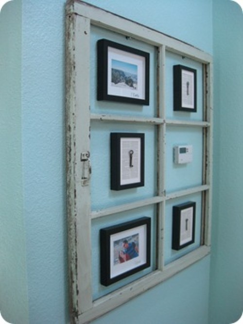 window used as frame for art to hide heater