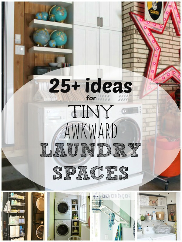 Small Laundry Solutions: Ideas For Your Tiny Awkward Laundry Space |  Remodelaholic.com #