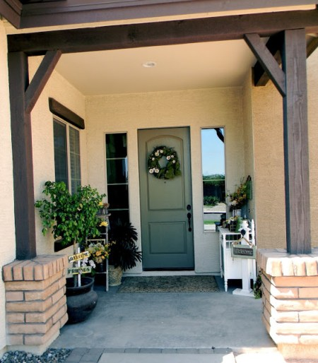 7-26 summer porch and welcome post, Little Bit of Paint