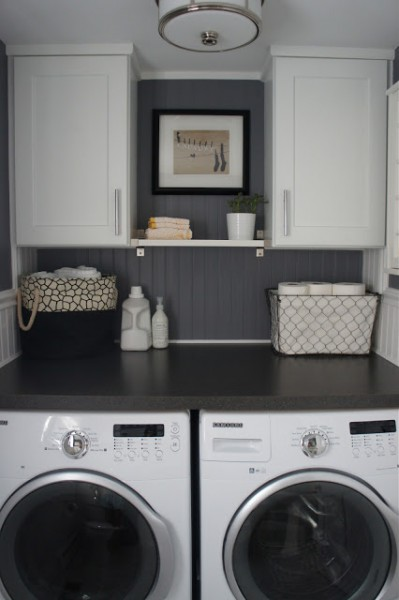 Half bath laundry room with beadboard, Home With Baxter