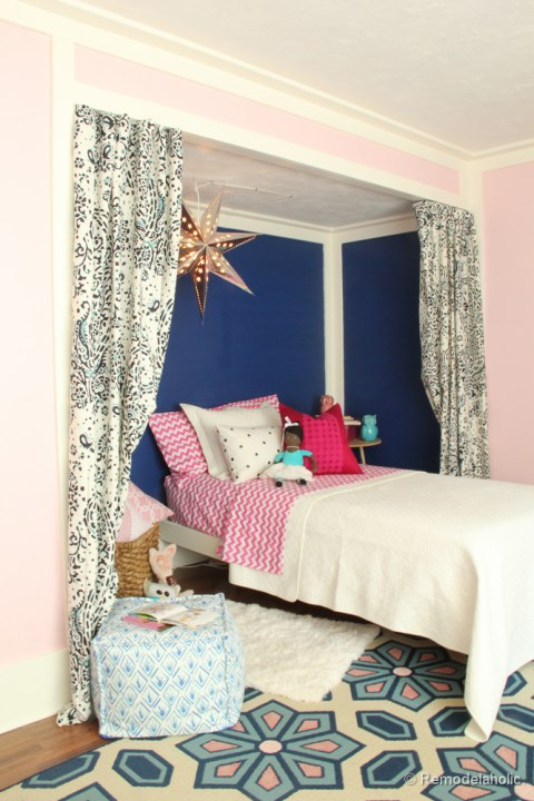 Pink and Navy Girls bedroom with bed nook-3