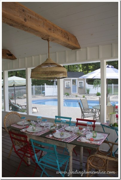 add a welcoming wicker shade chandelier to your porch, Remodelaholic