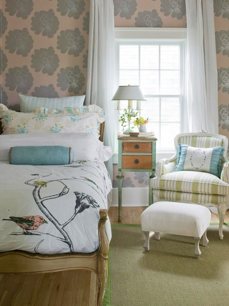 aqua and green patterned bedroom, BHG