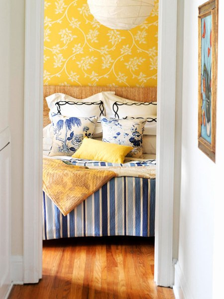 blue and yellow patterned bedroom, BHG
