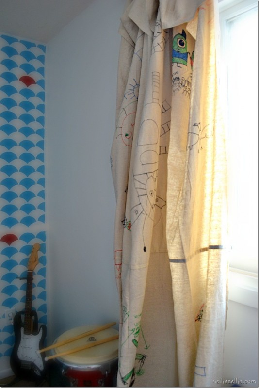 diy dropcloth curtains made by kids, Nellie Bellie on Remodelaholic