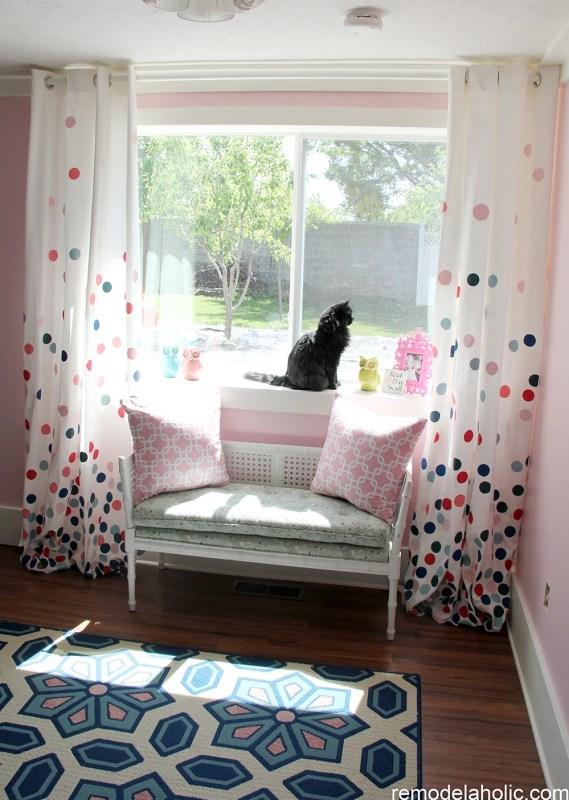 diy painted polka dot confetti curtains, Remodelaholic
