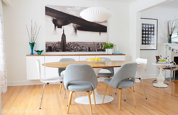 minimalist scandinavian modern dining room with floating sideboard