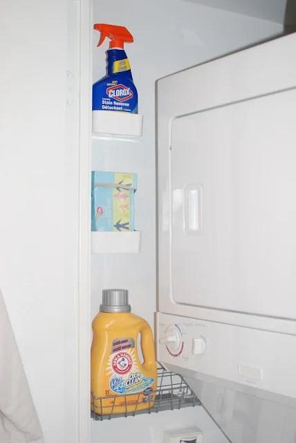 organized tiny laundry closet, Waffling Design