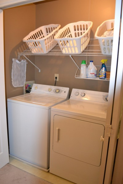 small laundry closet with basket shelves, Hold On to Your Hats