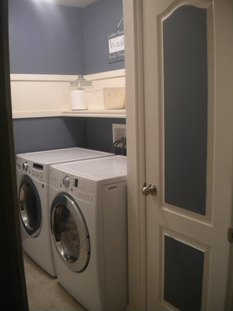 small laundry room updates with shelf and paint, Poppies at Play