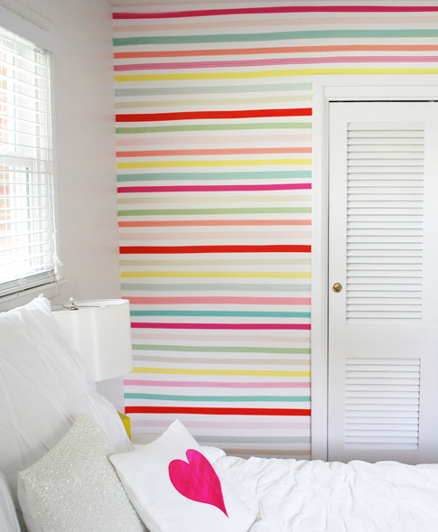 small stripes technically washi tape but could be done with paint via ann kelle - Paint Designs On Walls With Tape Ideas