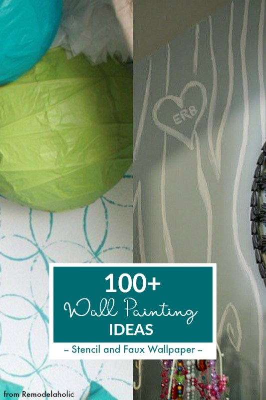 Wall Painting Ideas, Stencil, Faux Wallpaper, @Remodelaholic