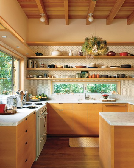 wood kitchen cabinets with open shelvings, The Brick House